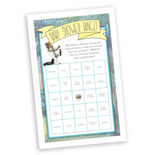 Where the Wild Things Are Baby Shower Bingo Printable Game