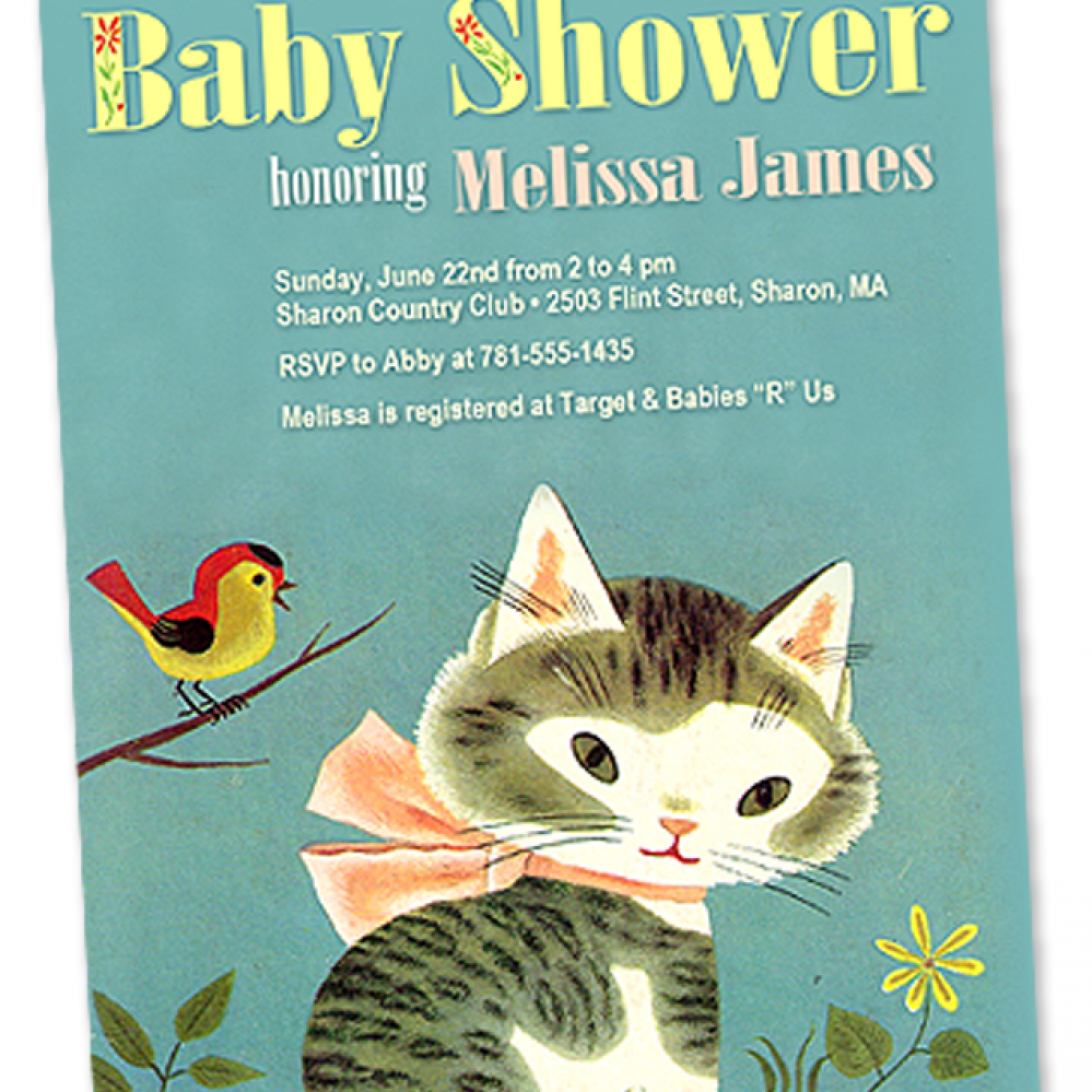 Shy Little Kitten Baby Shower Invitation