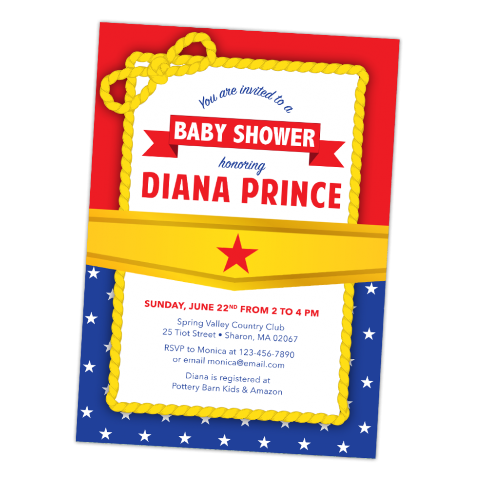 Wonder Woman Baby Shower Invitation